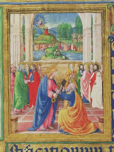 Christ Giving the Keys to St. Peter, from a Psalter Written by Don Appiano, Florence, 1514-15 Lámina giclée
