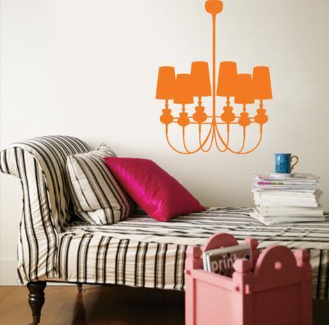 Orange Modern Chandelier Wall Decal