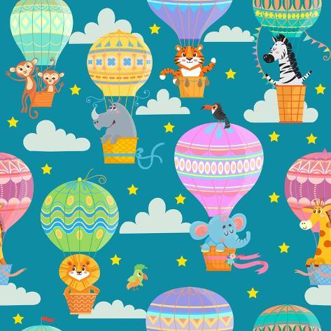 Seamless Pattern with Colorful Hot Air Balloons and Animals. Vector Illustration. Art Print