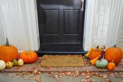 Pumpkins on Front Steps of Home during Halloween/Thanksgiving Season Photographic Print