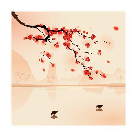 Oriental Style Painting, Plum Blossom In Spring Impressão giclée premium