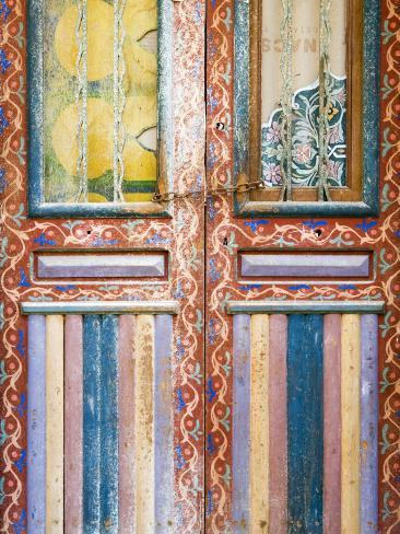 Detail of Faded Mulit-Colour Door in Fes El Bali Photographic Print