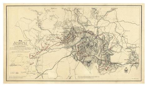 Civil War Map Illustrating the Siege of Atlanta, Georgia, c.1864 Art Print