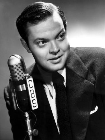 Orson Welles at the CBS Microphone in Publicity Shot for Murcury Summer Theater, 1946 Photo