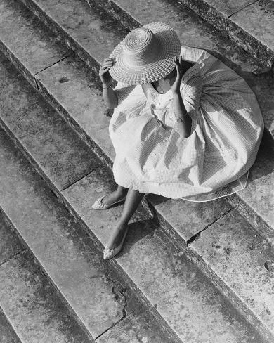 Young woman with straw hat, 1955 Giclee Print