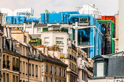 Aerial View of Beaubourg Area with the Pompidou Center Museum   Cityscape of Paris in France Photographic Print