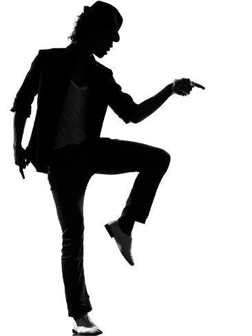 Full Length Silhouette Of A Young Man Dancer Dancing Funky