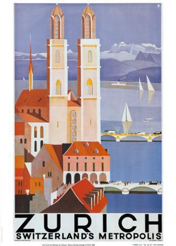 Zurich Metropolis Art Print