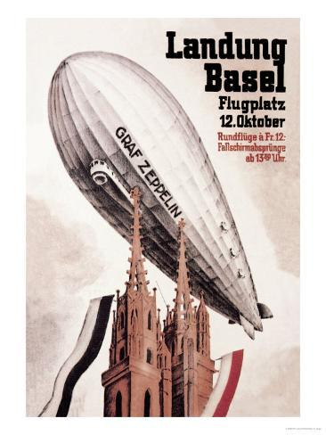 Graf Zeppelin Flies over the Cathedral in Basel Switzerland Art Print