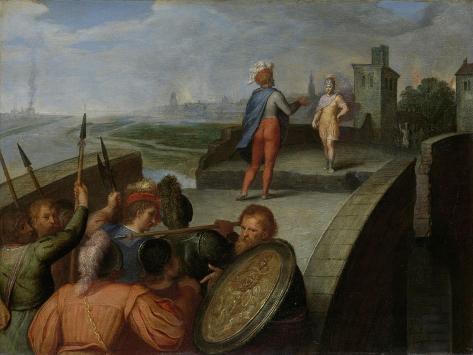 Peace Negotiations Between Julius Civilis and the Roman General Cerialis Art Print