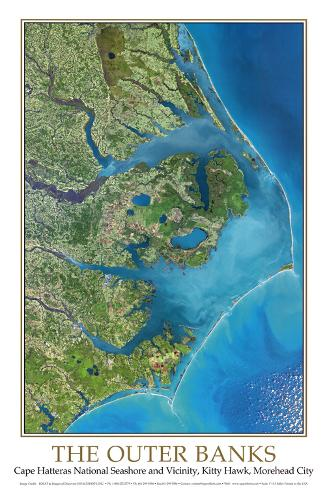 Outer Banks Nc From Space Ceshots Art Print