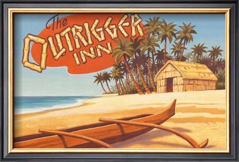 Outrigger Inn, Hawaii Framed Art Print