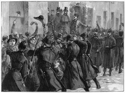 Outside the National Rent Office after the Arrest of O'Brien and Dillon, Loughrea, Ireland, 1887 Giclee Print