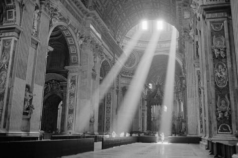 Sunbeams Inside St. Peter's Basilica Giant Art Print