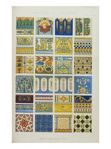 Renaissance No 6, Plate Lxxix from 'The Grammar of Ornament' Giclee Print