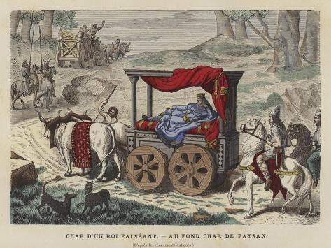 Ox Cart Carrying a Reclining King Giclee Print