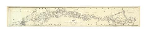 Map Exhibiting The Lines for the New York and New Haven Railroad, c.1845 Art Print