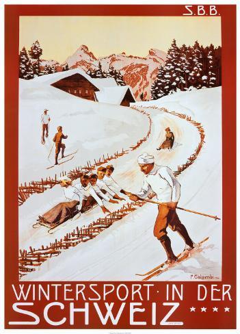 Winter Sport in Der Schweiz Art Print