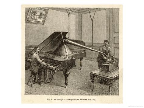 Recording a Man Playing the Piano Using Edison's Improved Model Phonograph Giclee Print