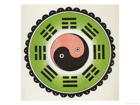 Pa-Koa Symbol Incorporating the Ying and Yang Giclee Print