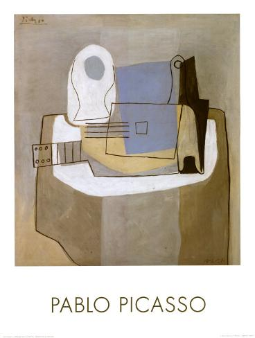 Guitar, Bottle and Fruit Bowl, c.1921 Lámina