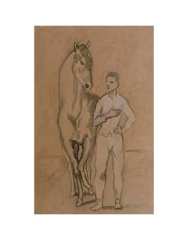 Horse with a Youth in Blue, 1905-6 Art Print