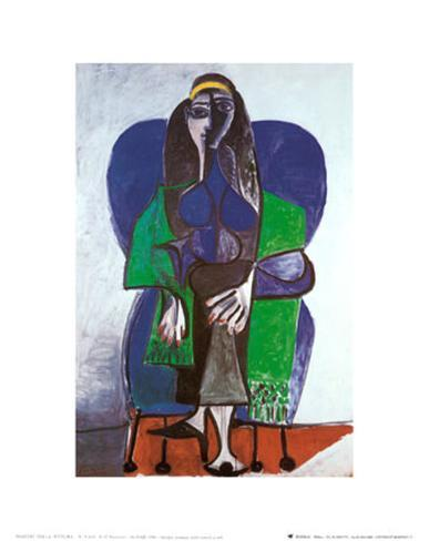 Sitting Woman with Green Scarf Art Print