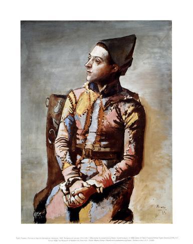 The Seated Harlequin, 1923 Art Print