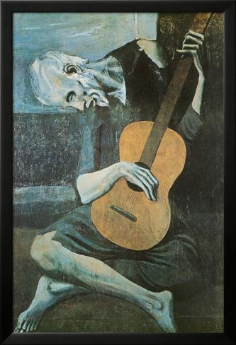 Viejo con guitarra, ca. 1903 Póster enmarcado con plástico protector