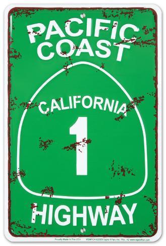 pacific coast highway metalen bord bij allpostersbe