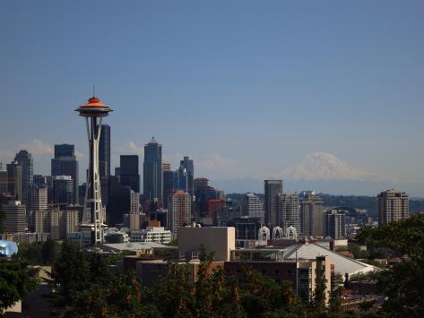Seattle Skyline Original Orange Photographic Print