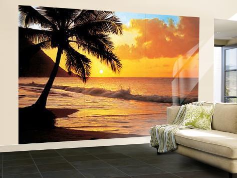 Pacific Sunset Huge Wall Mural Art Print Poster Mural de papel de parede
