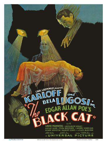 Edgar Allan Poe's The Black Cat - Starring Boris Karloff, Bela Lugosi Konstprint
