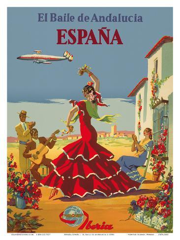 españa spain iberia air lines of spain flamenco dancers art by