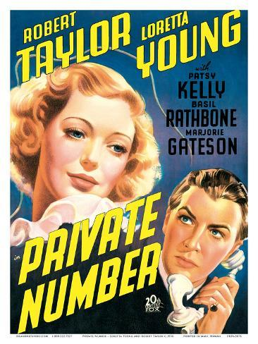 Private Number - starring Loretta Young and Robert Taylor Stampa artistica