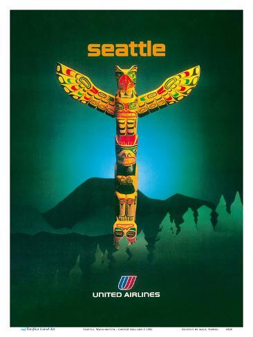 Seattle Washington United Airlines Totem Pole Posters By