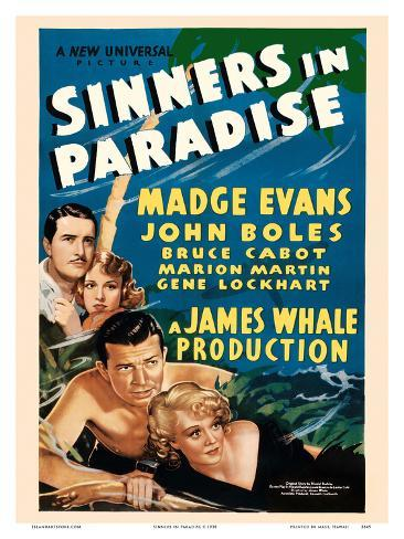 Sinners in Paradise - Starring Madge Evans, John Boles - Universal Pictures アートプリント