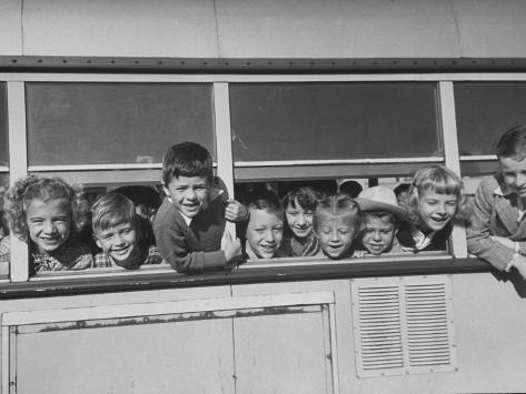 Packed School Bus in Detroit, First Graders Happily Stuck their Heads Out of its Windows Photographic Print