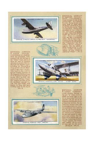 Page from an Album of International Air Liners for Cigarette Cards Stampa giclée