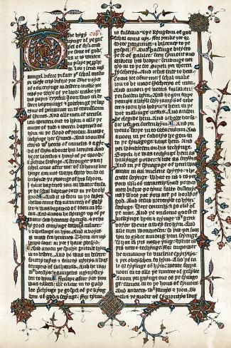 Page from Wycliffe's Translation of the Bible into English, C1400 Giclee Print