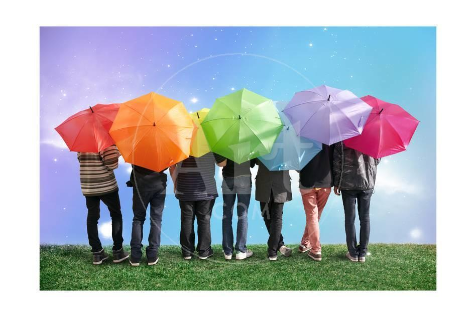 Seven Friends With Rainbow Color Umbrellas On Meadow Collage Art By Paha L At Allposters