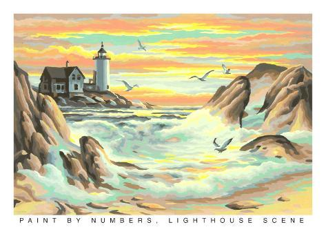 Paint by Numbers, Lighthouse Scene Art Print
