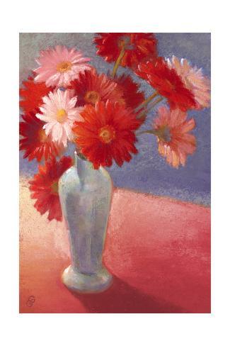 Painted Red Daisies in Blue Vase Art Print