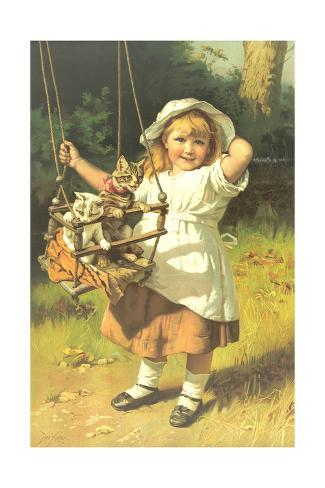 Painting of Little Girl Holding Swing with Kitties Art Print