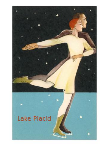 Pair Ice Skating in Lake Placid, New York Art Print