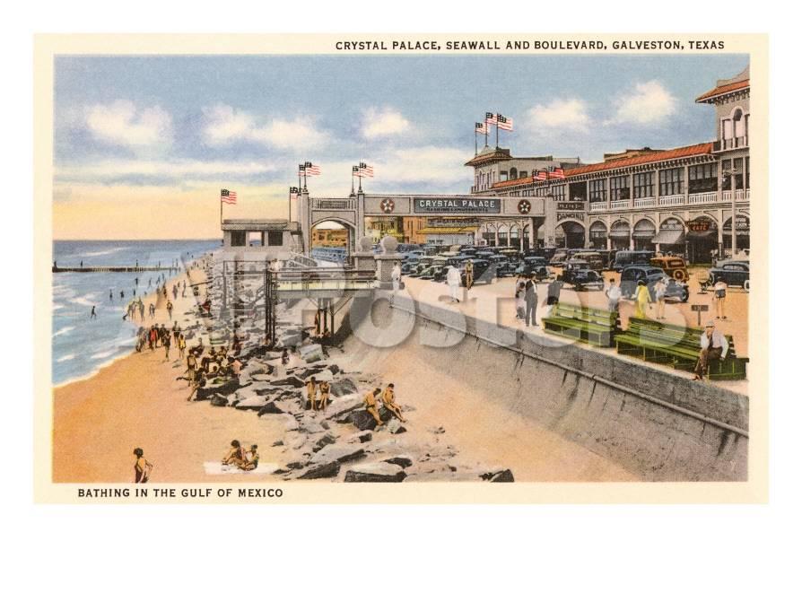 Palacio de cristal, paseo marítimo, playa, Galveston, Tejas Pósters ...