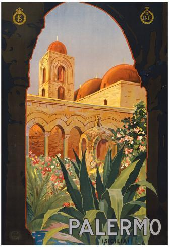 Palermo Sicily Tourism Travel Vintage Ad Poster Print Poster