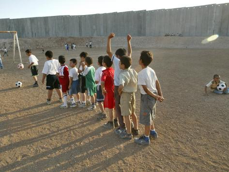 Palestinian Children Line Up Photographic Print