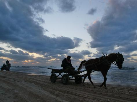 Palestinians Ride on Horse-Drawn Carts Along the Beach South of Gaza City Stretched Canvas Print