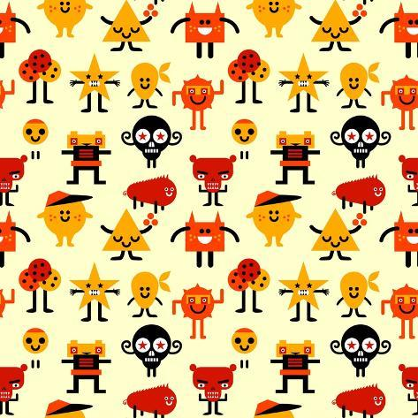Seamless Funny Monsters Pattern. Vector Illustration. Art Print